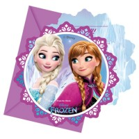 CARTES INVITATIONS REINE DES NEIGES X6