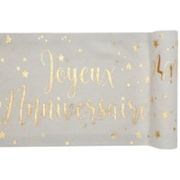 CHEMIN DE TABLE ANNIVERSAIRE METALLISE